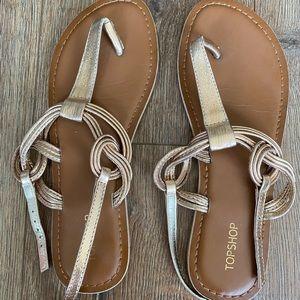 Topshop Gold Flat Sandals - size 7